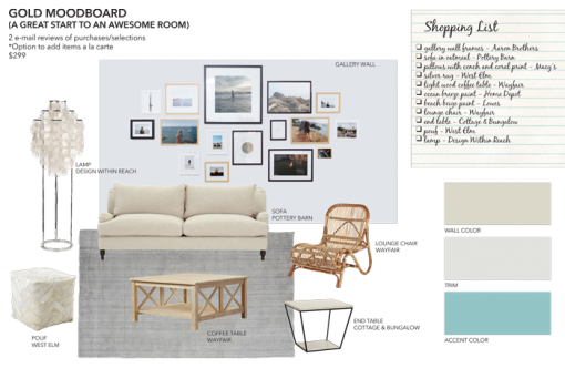 Gold Mood Board From Sea Interior Design