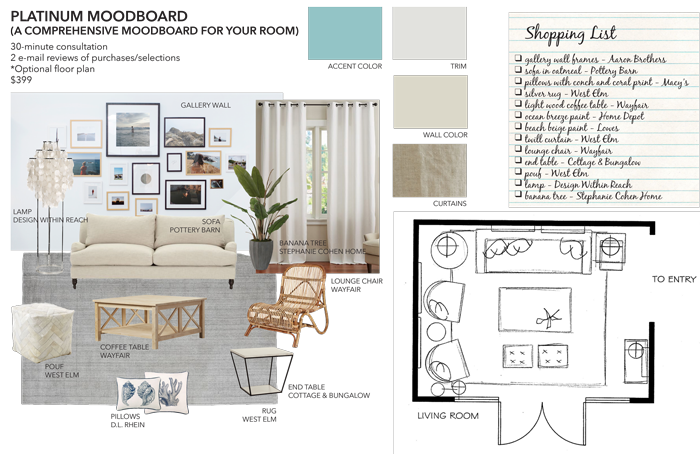 Platinum Mood Board Sea Interior Design