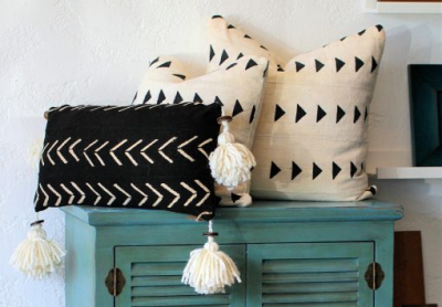 Black and Cream Mud Pillows